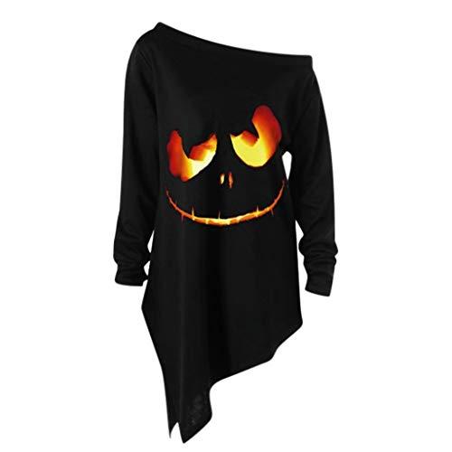 Lazzboy Halloween kostüm Damen Sweatshirt Pullover Bluse Geist Drucken Asymmetrisch Langarm Shirt...