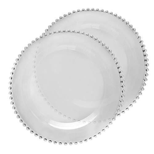 Bella Perle - Vajilla de vidrio templado de lujo con bordes con cuentas, Dinner Plate