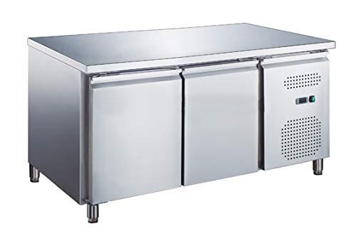 Banco Tavolo frigo refrigerato 2 porte in acciaio inox 1360x600x850h -2 +8 °C