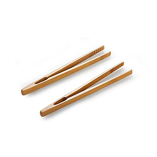 PPuujia Bamboo wood toast tea tongs wooden squeeze toaster bagel bacon sugar iced tea tongs accessories (Color : As photo)