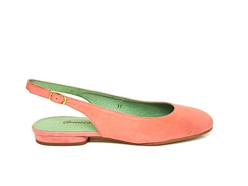Carling - Bailarinas Planas Casual de Vestir para Mujer en Piel con Talon Abierto - Tacon Bajo 1 cm - Zapatos Comodos Hechos en España, Salmón, Talla 39