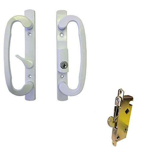 Sliding Glass Patio Door Handle Set with Mortise Lock, White, Keyed, 3-15/16 Screw Holes by TechnologyLK
