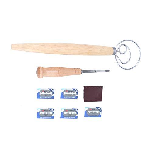 UPKOCH 1 Set Holzgriff Brot Lame Schneebesen Hand dänischen Schneebesen Brot Herstellung Werkzeuge Supplies