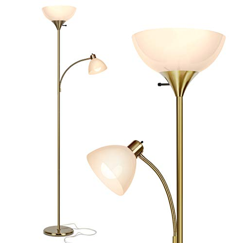 Brightech Sky Dome Plus - Super Bright LED Torchiere & Reading Floor Lamp - Dimmable Modern Standing Pole Lamp for Office, Living Room – Tall Mother-Daughter Lights for Bedroom Lighting – Gold Brass