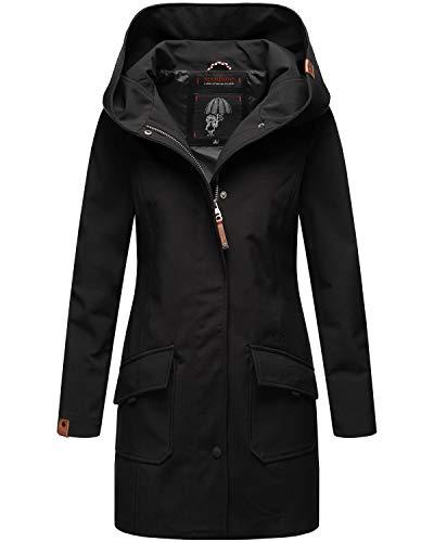 Marikoo Damen Softshell Jacke lang Outdoor Mantel Parka wasserdicht mit Kapuze Mayleen Black Gr. S