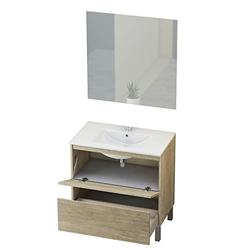 Baikal 280034326 Conjunto Mueble de Baño con Espejo y Lavamanos Cerámico, de una Puerta y un Cajón, Melamina 16mm, Nature, 80 X 46 X 82