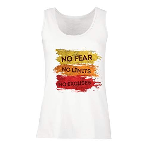 lepni.me Camisetas sin Mangas para Mujer Sin Miedo, sin límites, sin Excusas Cita de motivación (XX-Large Blanco Multicolor)