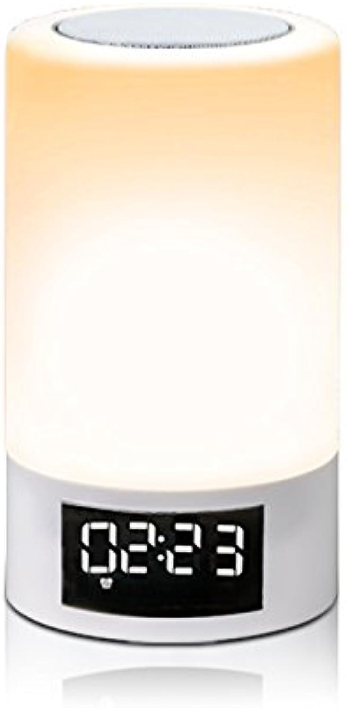 LED Nachttischlampe - Bunte Atmosphre Blautooth Lautsprecher Licht, Wireless Touchable, Geeignet für Zuhause