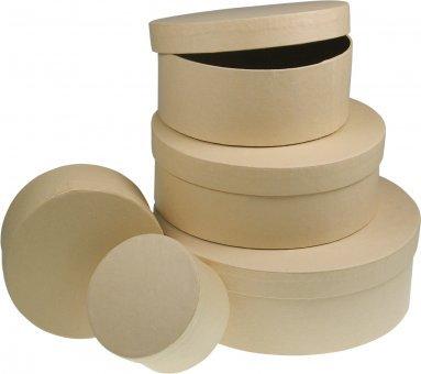 Meyco Pappschachtel rund in versch. Größen 5er Set incl. Ø19 x 6. 5cm. 5er Set incl. Ø19 x 6.5cm