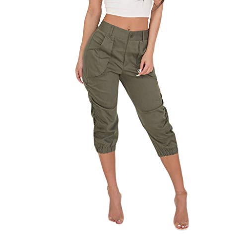 LeeMon Damen Kurz Cargohosen, Leinen Bermuda lockere Kurze Hose Freizeithose Shorts mit Gürtel und Knöpfen 7/8 Hosen Caprihose Sport Outdoor