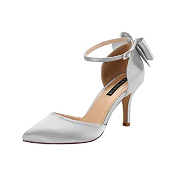 ERIJUNOR E1876B Wedding Evening Party Shoes Comfortable Mid Heels Pumps with Bow Knot Ankle Strap Wide Width Satin Shoes Silver Size 6