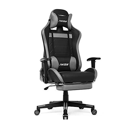 Intimate WM Heart Gaming Stuhl, Racingstuhl Racing-Gamerstuhl, Ergonomischer Computerstuhl mit Fußstütze, Drehstuhl mit hoher Rückenlehne (Grau)