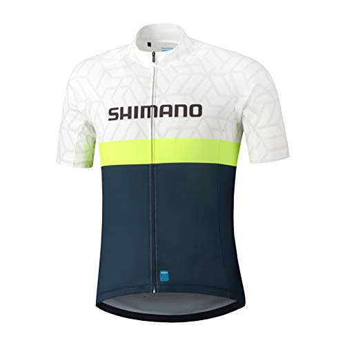 SHIMANO Team Trikot Herren weiß/blau Größe XXL 2021 Radtrikot kurzärmlig