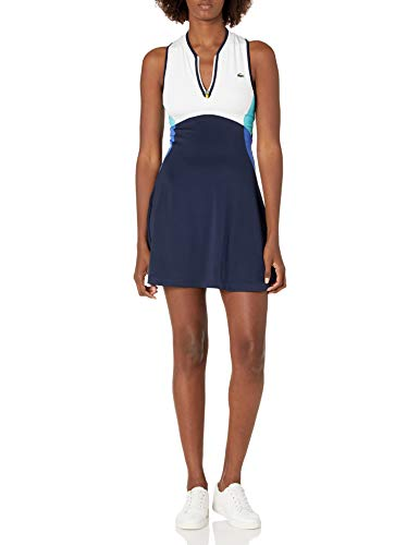 Lacoste Women's Sport Sleeveless Colorblock Tennis Dress, Navy Blue/White-Obscurity-Haiti Blue-Lemon, 10