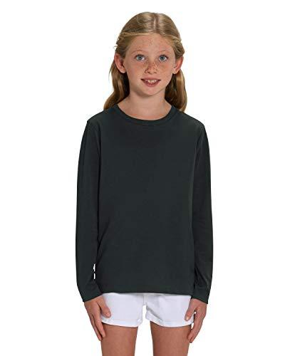 Hilltop Hochwertiges Kinder Langarmshirt /100% Bio-Baumwolle für Mädchen und Jungen. Eignet sich hervorragend zum bedrucken. (z.B.: mit Transfer-Folien/Textilfolien), Size:134/146, Color:Black
