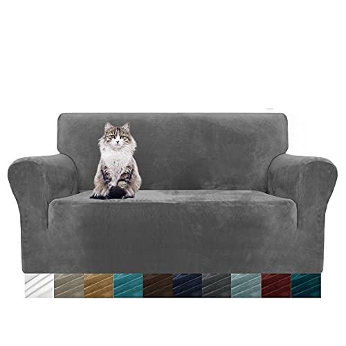 MAXIJIN Thick Velvet Sofabezüge 2-Sitzer Super Stretch rutschfeste Loveseat-Bezüge für Wohnzimmer Hunde Katze Haustier Plüsch Liebessitz Couch Schonbezüge Elastic Furniture Protector (2 Sitzer, Grau)