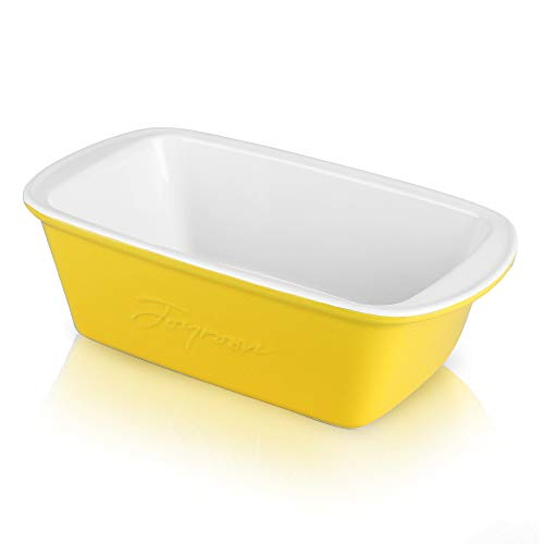 Joyroom Ceramic Bakeware for Cooking, Loaf Pan for Baking Bread, Rectangular Bread Pan for Casserole Dish, Cake Dinner and Kitchen, Bread Loaf Pan Letter Collection (Yellow)