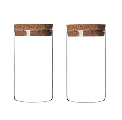 2 botellas vacías de vidrio transparente de 300 ml, con tapón de corcho, rellenables para alimentos secos y alimentos, frascos para té, frutos secos, frutos secos, dulces y otros artículos pequeños.