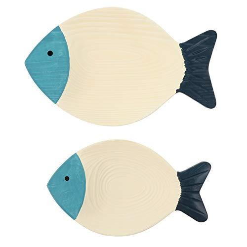 EXCEART 2 piezas de pescado de madera adorno playa peces náutico decoración para colgar en la pared para baño playa costero decoración náutica azul