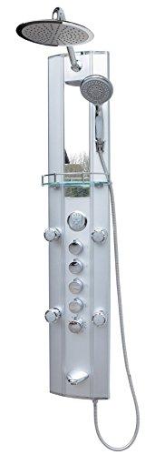 Duschpaneel Wanneneinlauf mit Thermostat Silber Regendusche mit 5 Massagedüsen Eckmontage und Wandmontage