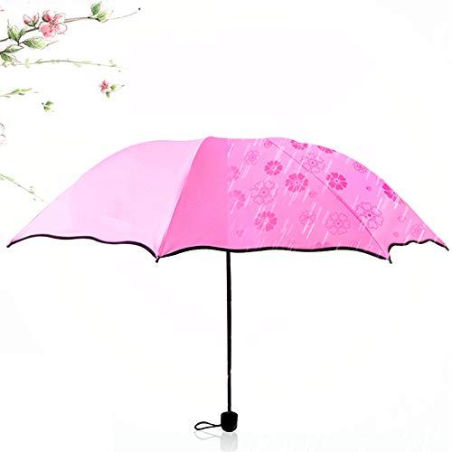 FoldingTravel Paraplu Draagbare Compacte Paraplu's met Winddichte UV Bescherming Zonneparaplu - Rubber Zonnebrandcrème Mode Design(roze)