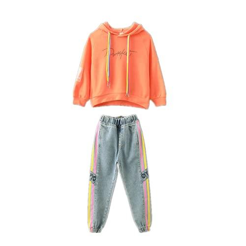 Poywuo Trainingsanzug Jogginganzug Kinder Mädchen 2tlg Sportswear-Jogginganzüge Mädchen Sportanzug Bekleidungsset Zweiteiler Freizeitanzug Outfit-Set(Sweatshirt+Jeanshose), Orange, 110(EU 104-110)
