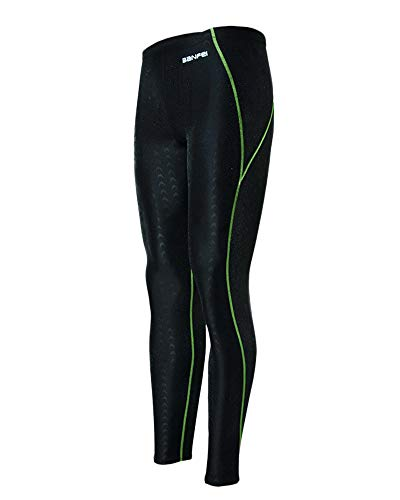 QitunC Herren Wettbewerb Badehose Lang Surfing Tauchen Hosen Sonnenschutz Schwimmhose Schnelltrocknend Leggings Grün XL