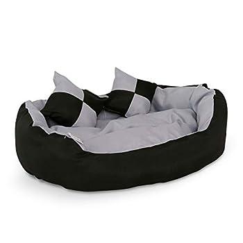 dibea Lit pour Chien - Coussin pour Chien - Canapé pour Chien Lavable avec Coussin réversible, 65x50x20 cm, Gris-Noir (Taille et Couleur au Choix)