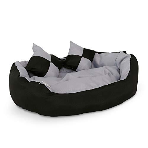 dibea Hundebett Hundekissen Hundesofa abwischbar mit Wendekissen (S) 65x50 cm schwarz/grau
