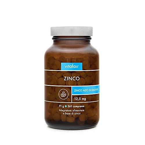 VITAFAIR Zinco - 25 mg per Porzione - 365 Compresse - Integratore Fornitura Annuale - 250% Fabbisogno Giornaliero - Bisglicinato di Zinco ad Alto Dosaggio - Vegano - TMC 10/2020