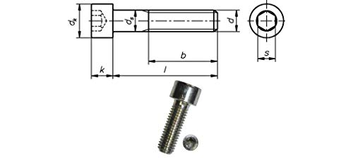 Tornillos cilíndricos con hexágono interior 8.8 DIN EN ISO 4762, M 12 x 150, blanco, VE: 25 unidades