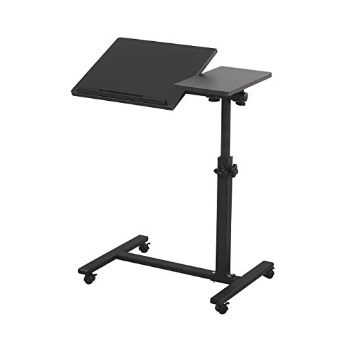 TigerDad Overbed Bedside Desk Mobile Rolling Laptop Stand Tilting Overbed Table with Wheels Height Adjustable Tray Table for Laptop Bed Sofa Side Table (Black)