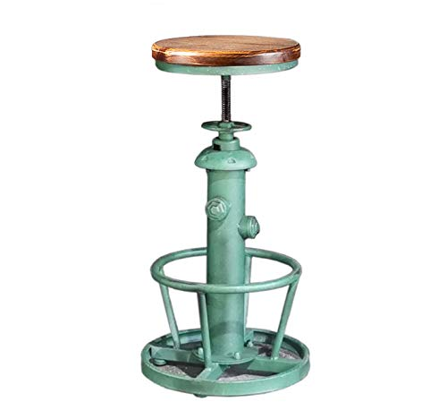 Topower American Antique Industrial Round Bottom Adjustable Height Cafe Coffee Retro Vintage Stylish Water Pipe Design Pub Kitchen Bar Stool (Antique Green, Wooden Top)