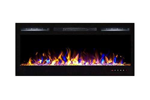 Moda Flame 35 Inch Bliss Crystal Recessed Touch Screen Multi-Color Wall Mounted Electric Fireplace