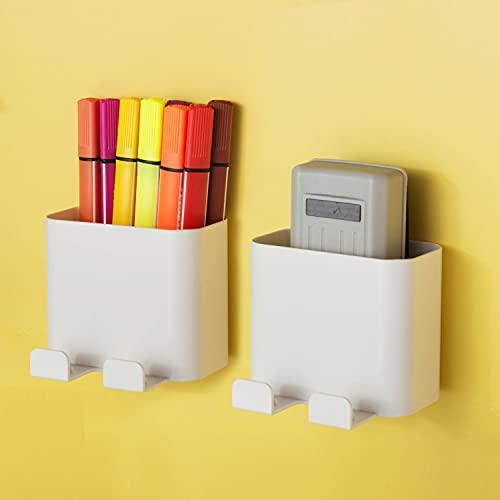 2 Pack Magnetic Dry Erase Marker Holder, Pen / Eraser Holder for Whiteboard, Locker Basket Organizer for Refrigerators, Pencil Cup Holder for Fridge, White Board Storage Accessories