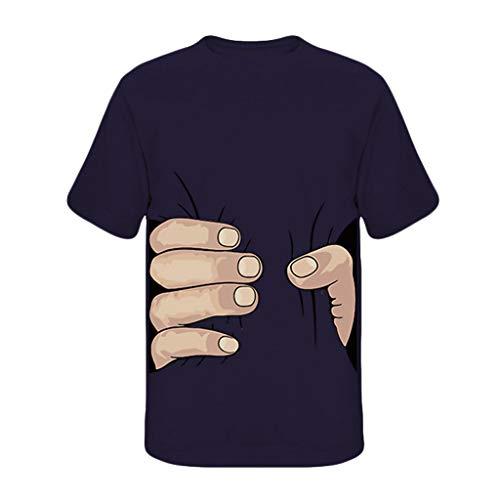 T-Shirt Top Uomo Estate Casual Moda Divertente Stampa O-Collo Manica Corta Camicetta (M,Marina Militare)