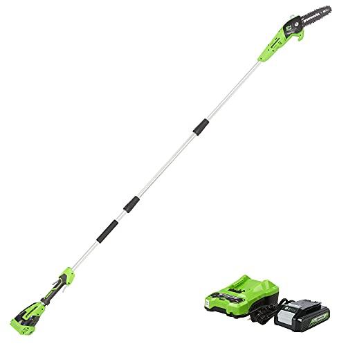 Greenworks PS24B210 8-Inch 24V Cordless Pole Saw, Polesaw (New Model)