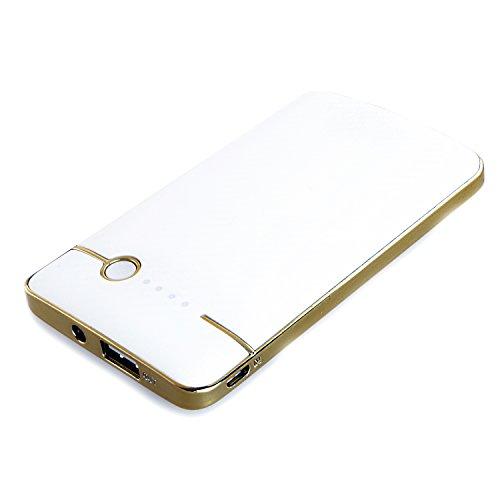 SUNEN–Batteria Caricabatterie di Backup 4000mAh Banco de la energia Cellulari, Smartphone Nokia, Samsung, HTC, Sony Xperia, iPhone, LED (Bianco)
