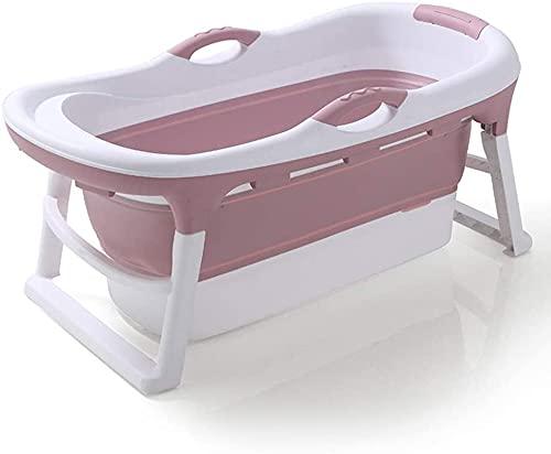 Bañera adulta plegable, bañera plegable, bañera portátil, adultos, piscina para niños - Bucket de baño de plástico - 121x63x54cm (Color : Pink)