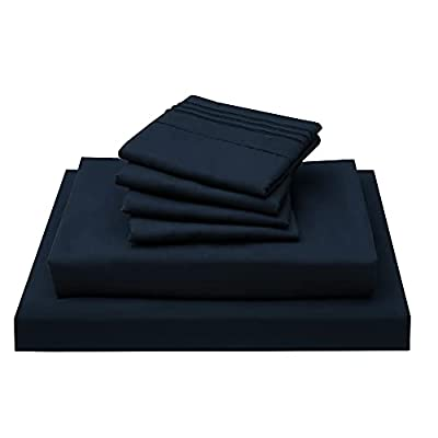 Bondiance Bed Sheet Set - 6 Piece King Size Sheet Set, Brushed Microfiber 1800 Thread Count Sheets - Super Soft Breathable & Cooling Sheets - 15-Inch Deep Pocket King Bed Sheets(King, Navy Blue)