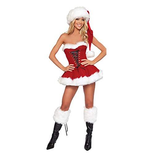 Plus maat Nieuwjaar kerstkostuum voor vrouwen Red Sexy Dress volwassenen vrouwen Fancy Cosplay + hoed