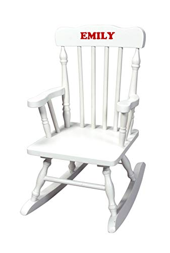 Lamlo Personalized Children's Rocking Chair, Features Classic Rocker Design and Hardwood Construction, White Finish Includes Free Personalization Kit