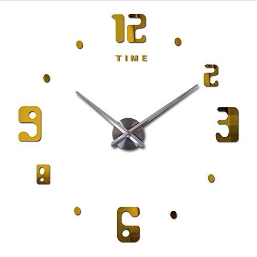 Djkaa, moderne grote klok met 3D-letters, knutselen, Arabisch digitaal tijdschrift, moderne grote klokken, spiegel, muursticker, thuis, decoratie, sticker, grote klok (37 inch)