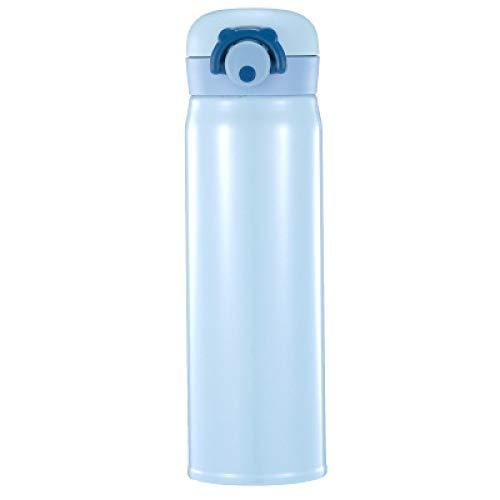 ZYLL 304 Edelstahl Thermoskanne Kaltwasser Isolierflasche Tragbare Vakuumisolierte Gym Klasse Winterwanderung Thermoskanne 500 ml Blau