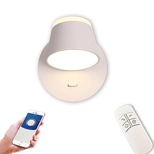 VOMI LED Apliques con Interruptor Interior Lámpara de Pared Regulable con Mando a Distancia APP Control, 350 ° Giratorio Cabecera Luz Aluminio para Sala Dormitorio Pasillo Escalera,Blanco