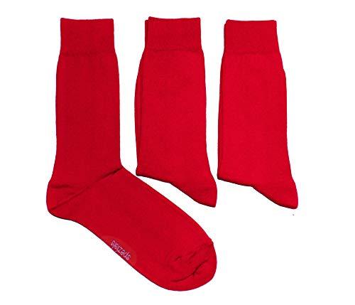 Weri Spezials Herren Socken in tollen Farben mit Komfortb& 3-er Pack Set Baumwolle (43-46, Rot)
