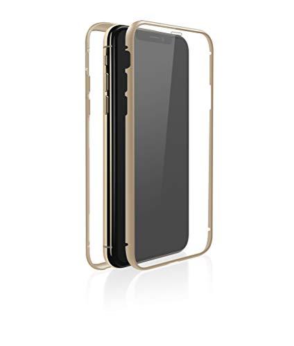 WHITE DIAMONDS - Hülle 360 Grad Glass Case passend für Apple iPhone X/XS   Transparent, Rundumschutz Schutzhülle, Glas Cover, Magnet Verschluss, Clear (Transparent mit goldenem Rahmen)