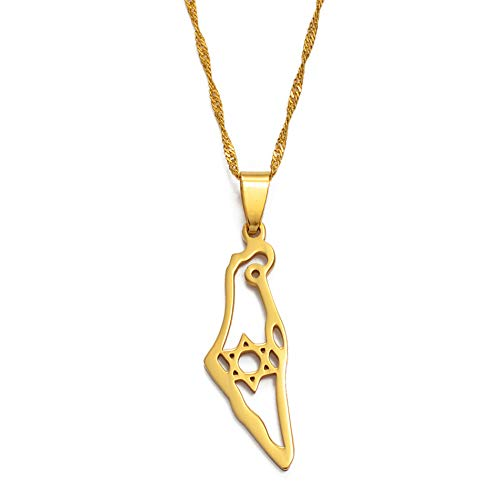 VAWAA Israel Karte Anhänger Halskette Gold Farbe jüdischen Schmuck Karte von Israel Halsketten Magen David Hexagramm/Davidstern 45cm dünne Kette