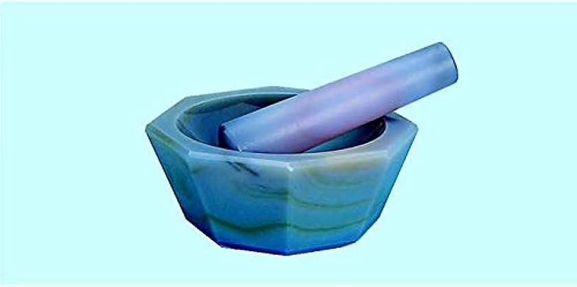 メイド冬エクスタシーメノウ製乳鉢 浅型 乳棒付 75×60×17