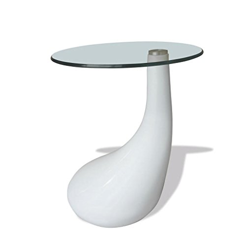 binzhoueushopping Table Basse avec Plateau Rond en Verre Blanc Brillant Table Salon Moderne Table Basse Canapé Table Salon Design